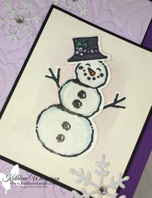 Snowman Season Christmas card by Kathleen Wingerson www.kathleenstamps.com