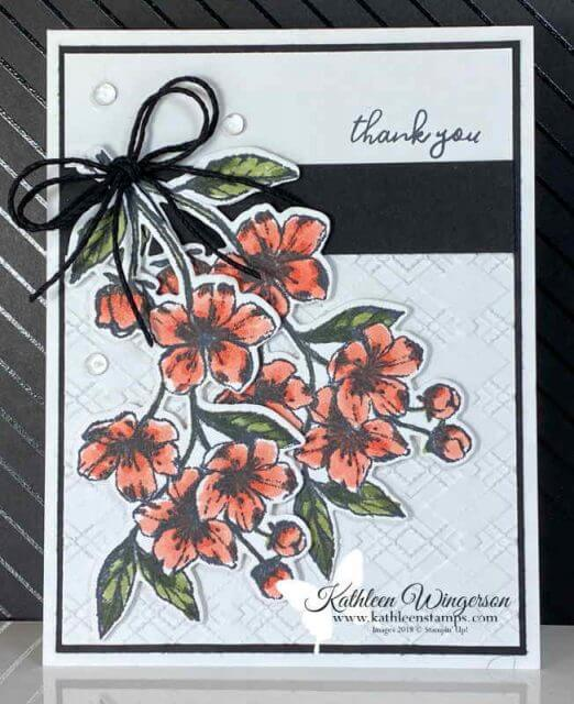 Thank you card using Forever Blossoms stamp set from Stampin' Up!